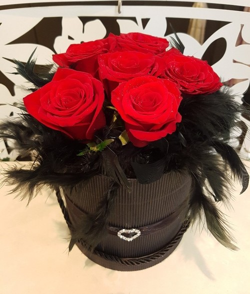 Testimonial for Heart Hatbox of 6 Red Roses