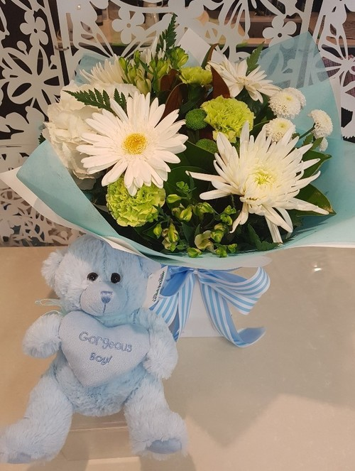 Testimonial for Baby Boy Bouquet and Teddy