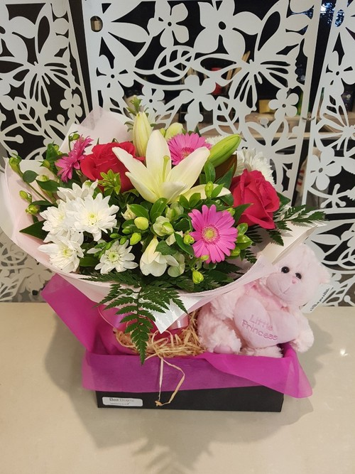 Testimonial for Baby Girl Bouquet and Teddy