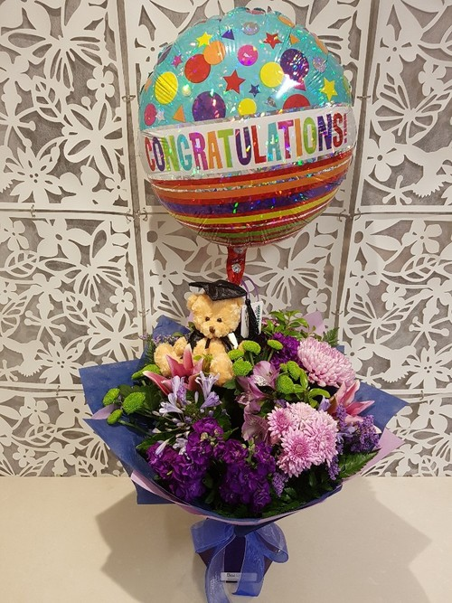 Testimonial for Graduation Bouquet, Balloon and Bear Package